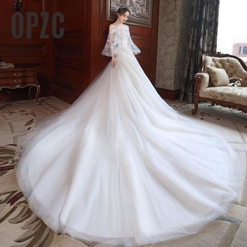 Lace Boat Neck Long Flare Sleeve Wedding Dress Tail Princess wedding Gown