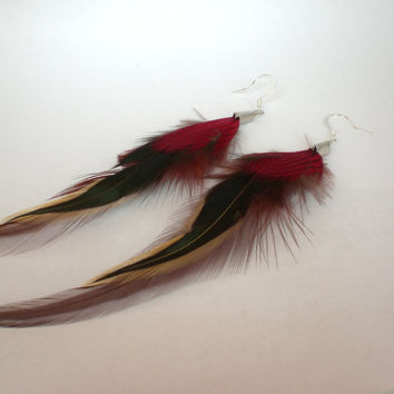 Natural Earth Tone Marron and Red Feather Earrings Red by donaarg