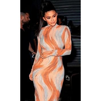 You Move Me Brown Geometric Pattern Long Sleeve Mock Neck Bodycon Casual Maxi Dress - Inspired by Kylie Jenner