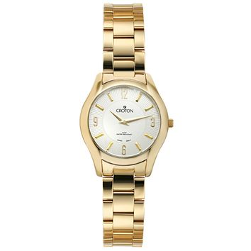 Croton Womens Stainless steel Goldtone Patterned dial Watch