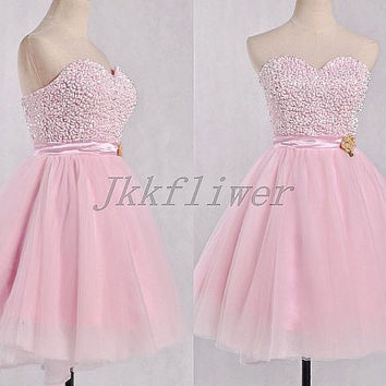 Short Pink Beaded Prom Dresses,Junior Girl's Party Dresses,Tulle Homecoming Dresses,Sweetheart Bridesmaid Dresses