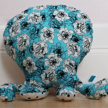 Octopus decorative pillow, Plush, Softie, Floral, Polka dots, Nautical nursery decor, Baby shower gift, Baby toy, Toddler, Children birthday