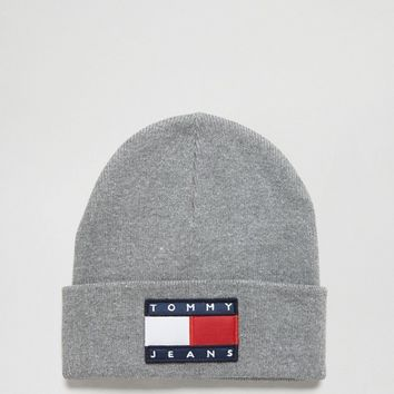 Tommy Jeans 90s Knit Beanie in Grey Marl at asos.com