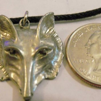 bling pewter wolf head wild animail big large ancient gothic celtic druid pagan myth fantasy mystical magic zoo circus western pendant charm leather 30 inch cord necklace jewelry hip hop