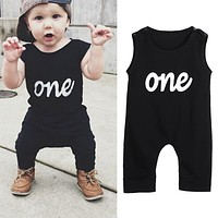 2017 Summer Baby Infant Toddler Kids One Print Black Baby Rompers Jumpsuit Outfit Baby Boy Clothes For Newborns