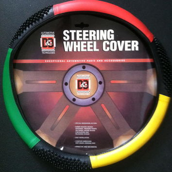 Rasta or Jamaica Steering Wheel Cover (Beaded Design)