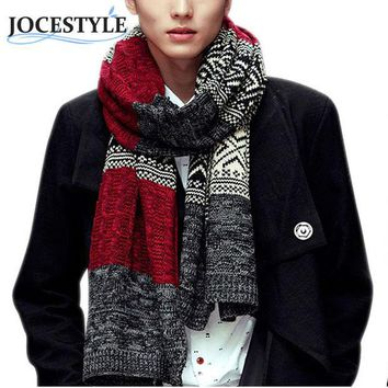 LMF9GW Men's Autumn Winter Scarves New Fashion Scarf Men Women Unisex Warm Wool Scarves Wrap Male Luxury Knitted Cashmere Scarf