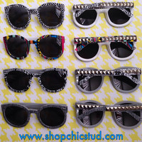 Studded Sunglasses- Tribal Geometric Print Options - Rounded Wayferer Sunglasses - Silver Studs