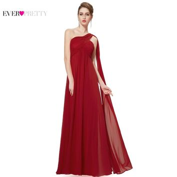 Evening Dresses One Shoulder Ruffles Padded Special Occasion Weddings Events Long Evening Dress