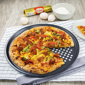 New Non-stick 12 inch Pizza Pan Perforated Coated Quiche Pan With hole to HU