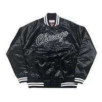 Limited Mitchell & Ness Chicago Bulls Satin Jacket in Black/White