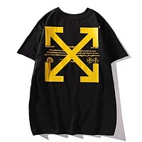 Off White New fashion bust letter print and arrow back cross letter print couple top t-shirt Black