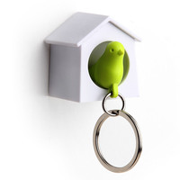 Mini Sparrow Key Ring Holder (white/green)