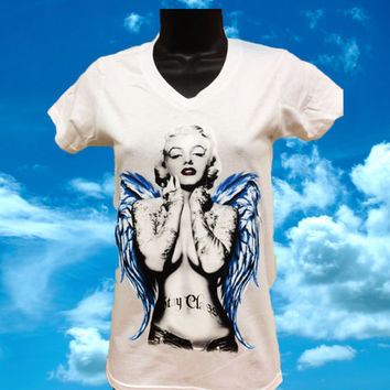 Marilyn Monroe With Angel Wings White V-Neck T-Shirt
