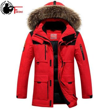 2017 Winter Jacket Men High Quality White Duck Down Jacket Fur Hood Removable Long Parka Male Coat Warm Thick Overcoat Plus Size