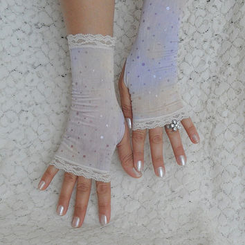 Fingerless lilac cream gloves, lace  gloves  armwarmers, marbled, victorian style, polka dots