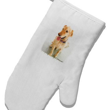 Golden Retriever Watercolor White Printed Fabric Oven Mitt