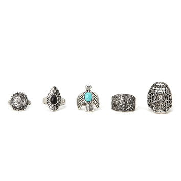 Bird and Filigree Ring Set