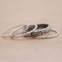 Oxidized Silver Leaf Pattern Stack Ring or by eclecticatelier