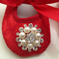 Baby red lace shoes and headband set--Newborn rhinestone red lace shoes--Red baby rhinestone headband