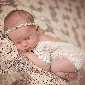 Cute ! 2018 Fashion New Soft Newborn Baby Photography Props Baby Romper Fashion Lace Infant Baby Playsuit Clothes Romper Outfit