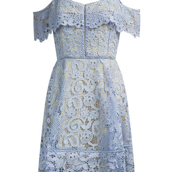 Blue V-neck Off Shoulder Spaghetti Strap High Waist Lace Dress
