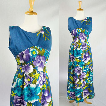 Vintage 60s Bombshell HAWAIIAN Blue Dream Maxi Empire Dress M