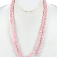 Pink Natural Stone Bead Extra Long Wraparound Necklace