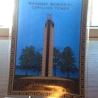 Vintage souvenir for the Mahanay Memorial Carillon Tower located in Jefferson, Iowa. Rectangular painted glass tray