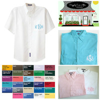 Five 5 Men's Short Sleeve Oversize Button Down Pocket Monogram Summer Wedding Shirts for Brides, Maid Of Honor, Bridesmaids, Jr. Bridesmaids