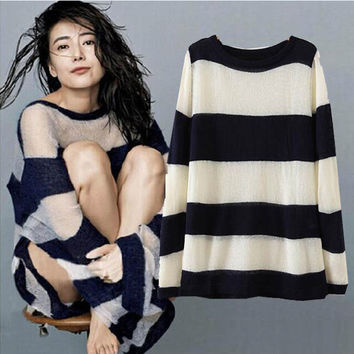 Women's Fashion Stripes Long Sleeve Round-neck Sweater [6514006151]
