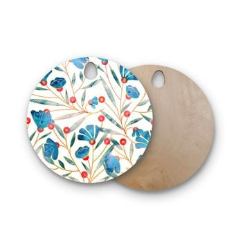 "83 Oranges ""Bluebella"" Blue White Nature Floral Illustration Watercolor Round Wooden Cutting Board"