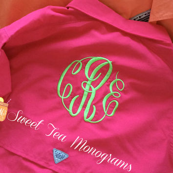 Bright Rose Women's Monogrammed Bahama Columbia PFG Fishing Shirt