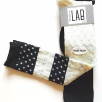 NWT Set of 2 Pairs Womens Knee High Socks Ivory & Black FAIR ISLE & DOTS / Solid