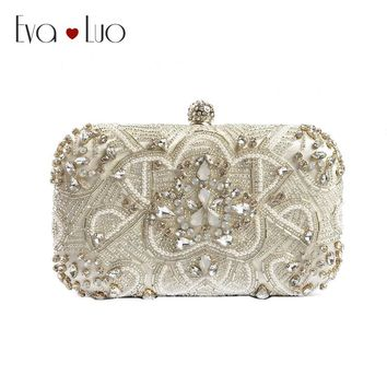 JZX17  DHL Free Shipping Beading Silver Evening Bags Clutch Bag Women Clutches Lady Wedding bag Handbag Purse