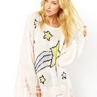 Wildfox White Label | Wildfox White Label Shooting Star Shredded Jumper at ASOS