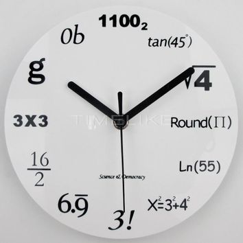 Modern Home Decor Acrylic Wall Clock Math Equations Wall Mounted Clock Quartz Needles Horloge Watch