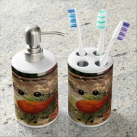 Snowmans glow soap dispenser and toothbrush holder