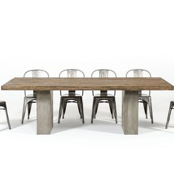 "Modrest Renzo Modern Oak & Concrete Dining Table 71""-118"""