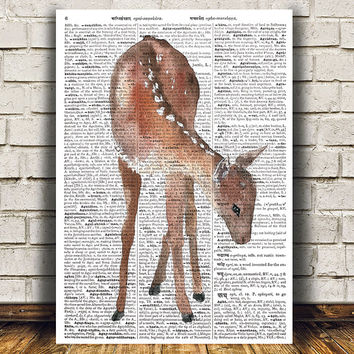 Wildlife poster Animal print Deer print Dictionary decor RTA1468