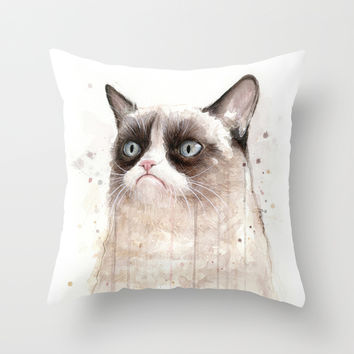 Grumpy Watercolor Cat II Throw Pillow by Olechka