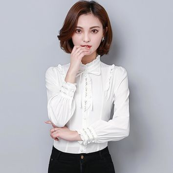 Autumn Womens Tops and Blouses Long Sleeve Casual White Blouse Female Embroidery Work Wear Stand Collar Shirt Blusas Feminina