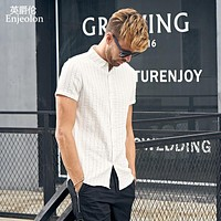 summer short sleeve shirt men solid striped shirts cotton clothing male casual for men shirt clothes