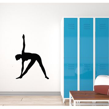 Vinyl Wall Decal Yoga Pose Beautiful Girl Healthy Life Room Decor Sports Stickers Mural (g858)