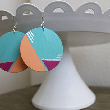 80's earrings - art deco earrings - statement earrings - fun earrings - unique earrings - colorful earrings - boho earrings - funky earrings