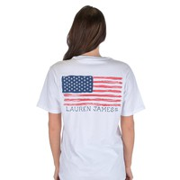 American Magnolia Flag Short Sleeve in White by Lauren James