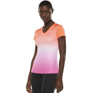 FILA Sport Ombre Racer V-Neck Workout Tee - Women's, Size: