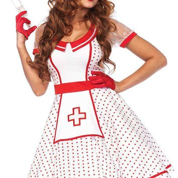 Saving Lives White Red Polka Dot Pattern Sheer Mesh Short Puff Sleeve V Neck Flare A Line Mini Dress Halloween Costume