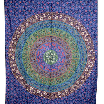 Hippie Mandala Tapestry, Indian Boho Bohemian Bedspread Bed Cover Throw Cotton Tapestry, Twin Ethnic Decor Art Hippie Mandala wall hanging