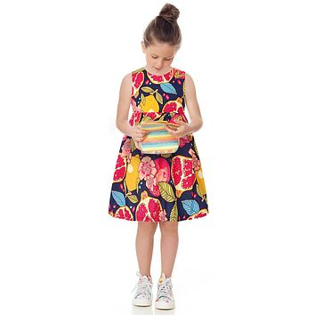 Princess Girl Dress Summer Toddler Girls Clothes Kids Dress Fruit Print Costumes Robe Fillet Children Clothing